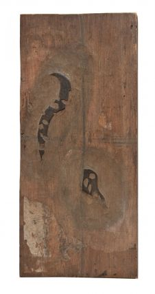"Wooden board (420 x 203 x 13 mm.), carved on both sides, the obverse side with an image of a kabuki actor dressed as a woman, the reverse bearing two small sections of added patterns for the actor's kimono, the title reads: ""Agari yakkoren yo"" [""View of a Woman Freshly Bathed""]."