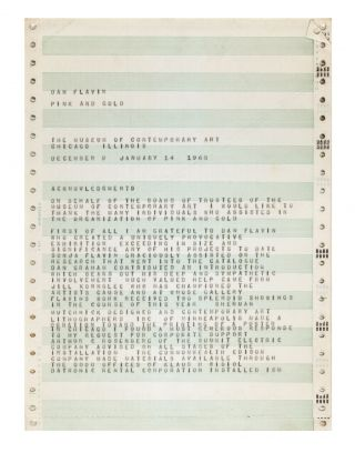 From printed envelope]: Dan Flavin: Pink and 'Gold' / Dec. 9th thru Jan. 14th 1968