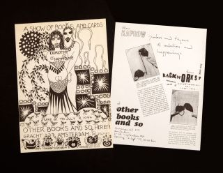 An impressive collection of 45 invitations, flyers, and posters produced by Ulises Carrión publicizing events at his Amsterdam bookstore (which was converted into an archive in 1979) from 1975 to 1984. The artists, authors, and curators featured include very influential figures such as Allan Kaprow, Guy Schraenen, Dorothy Iannone, Richard Kostelanetz, and Jackson Mac Low. All of these materials are very rare individually. Amsterdam: 1975-1984.