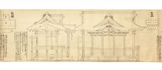 Scroll on paper containing 12 large brush & ink drawings & 15 smaller floor plan diagrams in black ink, demonstrating the principles of the proper proportion in the construction of wooden Buddhist temples & Shinto shrines.