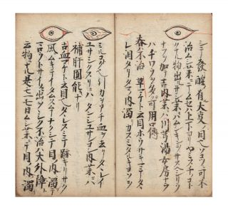 "Manuscript on paper, entitled in manuscript on label on upper cover ""Me [or] moku den ichi ryu"" [""Information on Ophthalmology passed down from the Iesato Ichi ryu school""]."