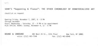 """[From first card]: Sohm's """"happening & fluxus"""": The Other Chronology of Dematerialized Art."""