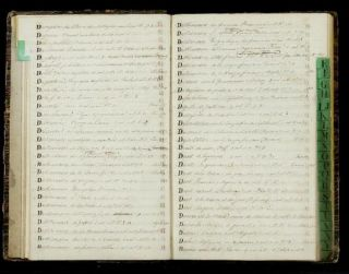 """Manuscript on paper entitled """"Catalogue de la Bibliothéque de M. Le Comte de Fortis,"""" written throughout in a neat hand. 61 pages with entries and several hundred blank pages. Folio (330 x 200 cm.), cont. green reversed calf-backed marbled boards (a little worn)."""